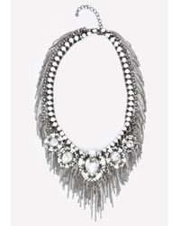 Bebe - Metallic Crystal & Fringe Necklace - Lyst
