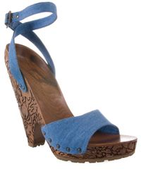 Stella McCartney - Blue Denim Sandal with Carved Wooden Heel - Lyst