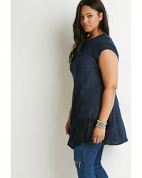 Forever 21 - Blue Plus Size Contrast-stitched Trapeze Tunic - Lyst