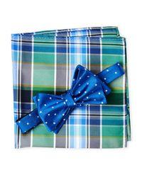 Tommy Hilfiger - Blue Dot Plaid Silk Bow Tie & Pocket Square Set for Men - Lyst