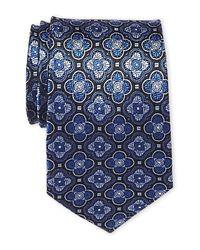 Isaac Mizrahi New York - Blue Medallion Silk Tie for Men - Lyst