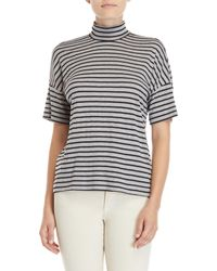 Workshop - Multicolor Stripe Mock Neck Top - Lyst