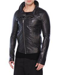 Rick Owens | Black Leather Asymmetrical Jacket for Men | Lyst