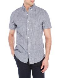 Shades of Grey by Micah Cohen   Blue Navy Button-Down Short Sleeve Shirt for Men   Lyst