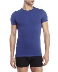 Versace | Blue Crew Neck T-Shirt for Men | Lyst