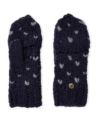 Rebecca Minkoff | Blue Heart Stitch Pop Top Mittens | Lyst