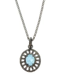 Bavna - Multicolor Sterling Silver Aquamarine & Diamond Pendant Necklace - Lyst