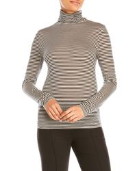 6397 - Multicolor Funnel Neck Stripe Tee - Lyst