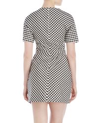 Giambattista Valli White Short Sleeve Gingham Dress