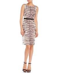 Giambattista Valli Gray Tiger Print Dress