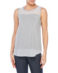 Vince Camuto | Gray Petite Sheer Panel Tank | Lyst