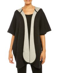 Eileen Fisher | Black Hooded Open Front Poncho | Lyst