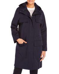 DKNY | Blue Hooded Double Jacket Coat | Lyst