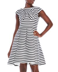 kate spade new york - Blue Bow Stripe Fit & Flare Dress - Lyst