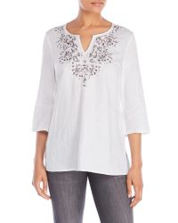 Symple NYC | White Split V-Neck Embroidered Linen Tunic | Lyst