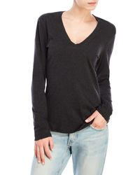 James Perse | Gray Heather Long Sleeve V-Neck Tee | Lyst