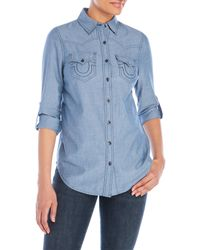 True Religion | Blue Long Sleeve Western Shirt | Lyst