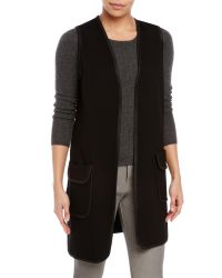 Max Studio - Black Ponte Knit Open Vest - Lyst