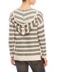 Olive & Oak | Natural Split V-Neck Knit Hoodie | Lyst