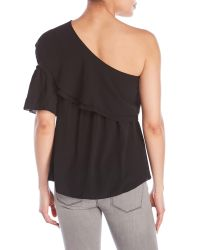 Tyche - Black Draped Overlay Single-Sleeve Top - Lyst