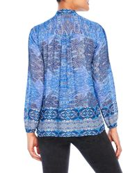 Lucky Brand - Blue Long Sleeve Scarf Print Blouse - Lyst