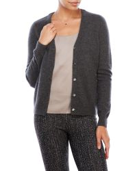 In Cashmere | Gray V-Neck Pointelle Cashmere Cardigan | Lyst