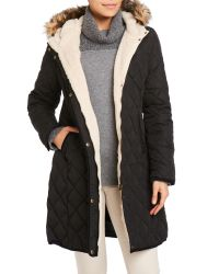 Lauren by Ralph Lauren - Black Faux Fur Trim Hooded Quilted Coat - Lyst