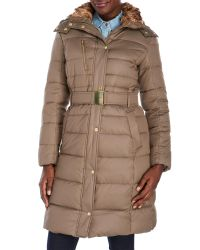 Cole Haan | Natural Belted Coat With Removable Faux Fur-Lined Hood | Lyst
