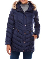 Marc New York | Blue Faux Fur Trim Down Puffer Jacket | Lyst