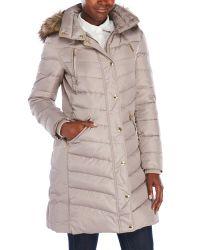 MICHAEL Michael Kors   Multicolor Faux Fur Trim Hooded Coat   Lyst