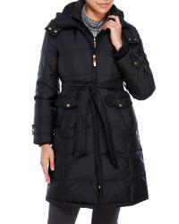 Ellen Tracy | Black Petite Belted Down Coat With Hood | Lyst