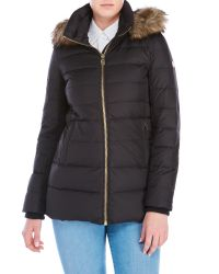 MICHAEL Michael Kors | Black Faux Fur Trim Funnel Coat | Lyst