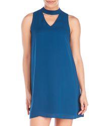 Pink Rose - Blue Mock Neck Cutout Shift Dress - Lyst