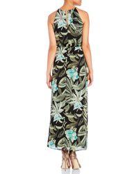 Connected Apparel - Black Tropical Print Maxi Dress - Lyst