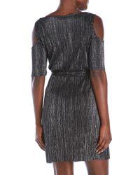 Connected Apparel - Black Cold Shoulder Belted Dress - Lyst
