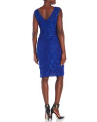 Connected Apparel - Blue Sequined Lace Sheath Dress - Lyst