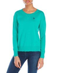 U.S. POLO ASSN. | Green Sweater With Drop Hem | Lyst