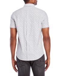 Ben Sherman - Gray Printed Short Sleeve Button-down Shirt for Men - Lyst