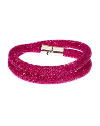 Swarovski | Silver-tone Pink Crystal Stardust Double Twist Bracelet | Lyst