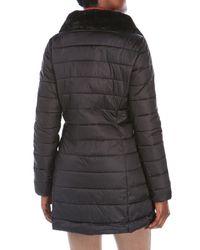 Save The Duck - Black Packable Faux Fur Trim Coat - Lyst