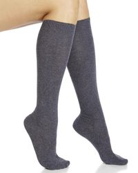 Hue | Gray Two-Pack Flat Knit Knee-High Socks | Lyst