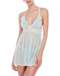 Betsey Johnson | Blue Two-Piece Mesh Babydoll Set | Lyst