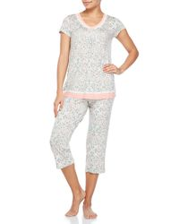 Ellen Tracy   White 2-Piece Printed Short Sleeve Top & Pants Pj Set   Lyst