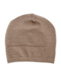 Portolano | Brown Solid Slouchy Cashmere Beanie for Men | Lyst