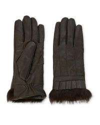 C-lective | Brown Leather Gloves With Pleating & Real Fur Trim | Lyst