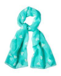 Moschino | Blue Silk Mini Heart Scarf | Lyst