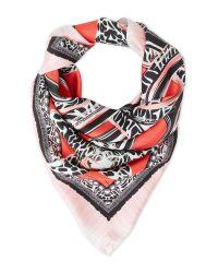 Roberto Cavalli | Red Printed Silk Scarf | Lyst