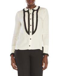 bcd00170efff45 Lyst - ABS By Allen Schwartz Tuxedo Blouse in White
