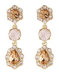 Givenchy - Metallic Gold-tone Crystal-accented Drop Earrings - Lyst