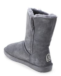 BEARPAW - Gray Charcoal Abigail Real Fur Toggle Boots - Lyst